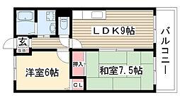 グローリィ桜ケ丘南[103号室]の間取り
