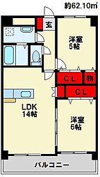 メゾンほおづきI[7階]の間取り