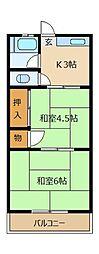 高須コーポ[2階]の間取り