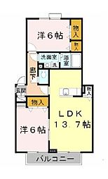 ラフィーネB棟[2階]の間取り