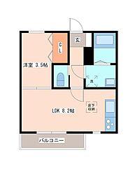 JR東北本線 南仙台駅 徒歩1分の賃貸アパート 1階1LDKの間取り