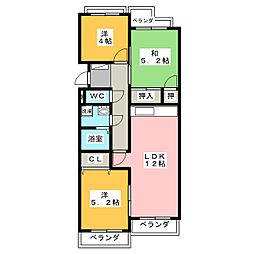 サンマンション東山元町B棟302[3階]の間取り