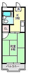 コーポタカハシB[4階]の間取り