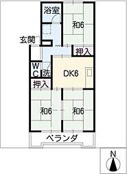 サンシャイン二村[1階]の間取り