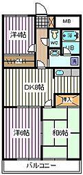 埼玉県戸田市美女木2丁目の賃貸マンションの間取り