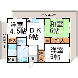 シャトー長洲[3階]の間取り