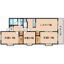 JR東海道本線 静岡駅 バス16分 中村町下下車 徒歩3分の賃貸マンション 3階3LDKの間取り