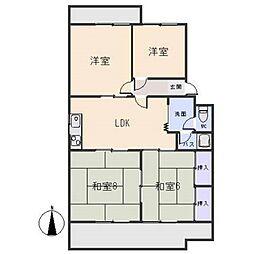 マンション鈴木(D、E)[3階]の間取り