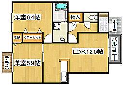 大阪府大東市野崎3丁目の賃貸アパートの間取り