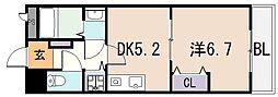 マジェスタ八戸ノ里[1階]の間取り