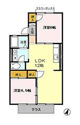 ルナハイツ A棟[1階]の間取り
