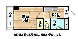 福岡県北九州市八幡東区枝光4丁目の賃貸マンションの間取り