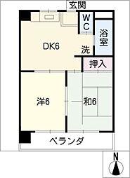 ビワハイツナカネ[2階]の間取り