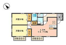 愛知県名古屋市名東区大針1の賃貸アパートの間取り