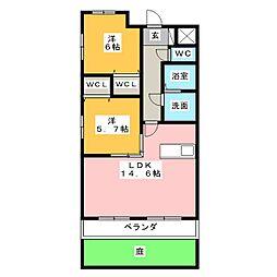 クレスト上名古屋[1階]の間取り