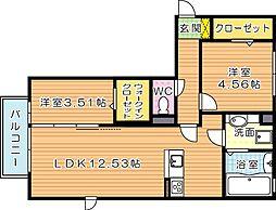 クレール塚の原 C棟[2階]の間取り