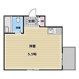 キューブ東大阪[3階]の間取り