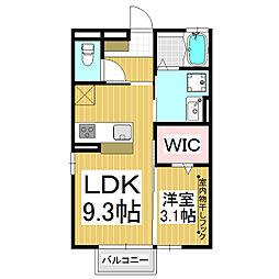 メゾンエリート 1階1LDKの間取り