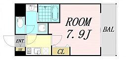 セオリー大阪ベイシティ 4階1Kの間取り