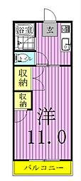 コーポ東中新宿[102号室]の間取り
