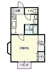 JR山形新幹線 山形駅 バス17分 大学病院南下車 徒歩5分の賃貸アパート 2階1Kの間取り