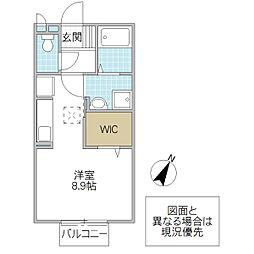 フォレスト サイト 1階ワンルームの間取り