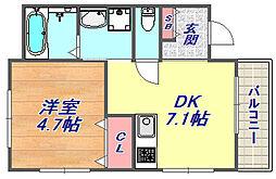 ER  City's  nishinada(イーアールシティズニシナダ)[3階]の間取り