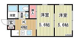 兵庫県神戸市灘区将軍通4丁目の賃貸アパートの間取り