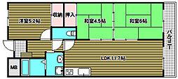 南花台アーバンコンフォート 8階3LDKの間取り