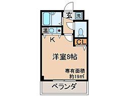京都府京都市伏見区両替町十丁目の賃貸マンションの間取り