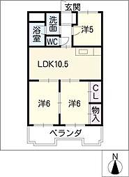 グランドール矢田[2階]の間取り