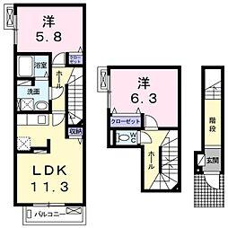 神奈川県川崎市多摩区菅1丁目の賃貸アパートの間取り