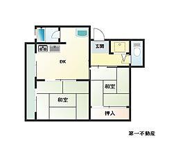 兵庫県西脇市黒田庄町福地の賃貸アパートの間取り