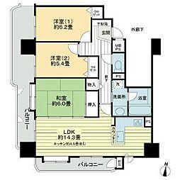 ライオンズマンション支倉丁 8階3LDKの間取り