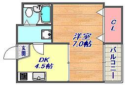 ピアシティ魚崎[402号室]の間取り