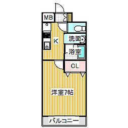 愛知県名古屋市中村区名駅南2丁目の賃貸マンションの間取り