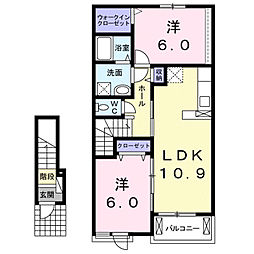 サニーサイド西福原 2階2LDKの間取り