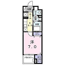 Osaka Metro今里筋線 井高野駅 徒歩4分の賃貸マンション 2階1Kの間取り