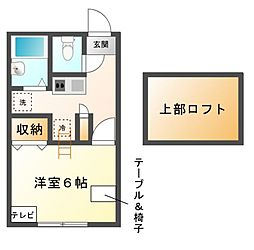 愛知県日進市浅田平子1丁目の賃貸アパートの間取り