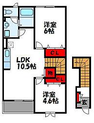 サニーブルックA[2階]の間取り