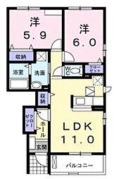JR横浜線 町田駅 バス11分 今井谷戸下車 徒歩6分の賃貸アパート 1階2LDKの間取り