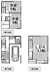 阪急宝塚本線 十三駅 徒歩9分 2LDKの間取り