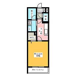[新築] dwell常楽 住吉 3階1Kの間取り