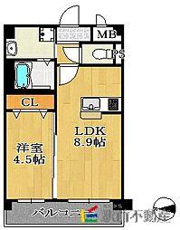 福岡市地下鉄七隈線 桜坂駅 徒歩19分の賃貸マンション 8階1LDKの間取り