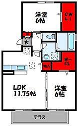 ロイヤルコート宇美 2階2LDKの間取り
