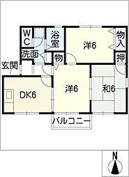 ロイヤルハイカムールK B棟[1階]の間取り