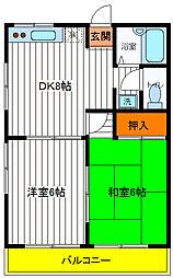 東京都日野市日野本町5丁目の賃貸マンションの間取り