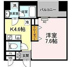 西鉄天神大牟田線 薬院駅 徒歩6分の賃貸マンション 6階1DKの間取り