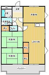 兵庫県明石市野々上2丁目の賃貸マンションの間取り
