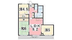 リディアヤマモト壱番館[303号室]の間取り